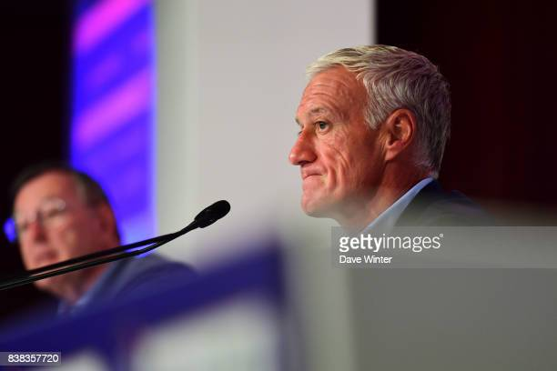 France coach Didier Deschamps and Press attache Philippe Tournon during the press conference to announce the squad for the forthcoming 2018 World Cup...