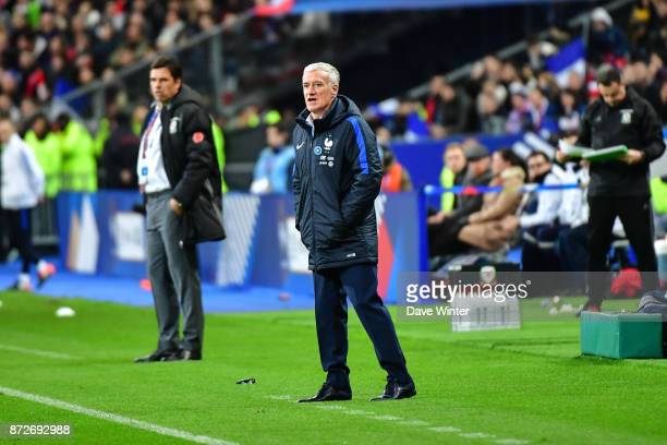 France coach Didier Deschamps and Wales coach Chris Coleman during the international friendly match between France and Wales at Stade de France on...