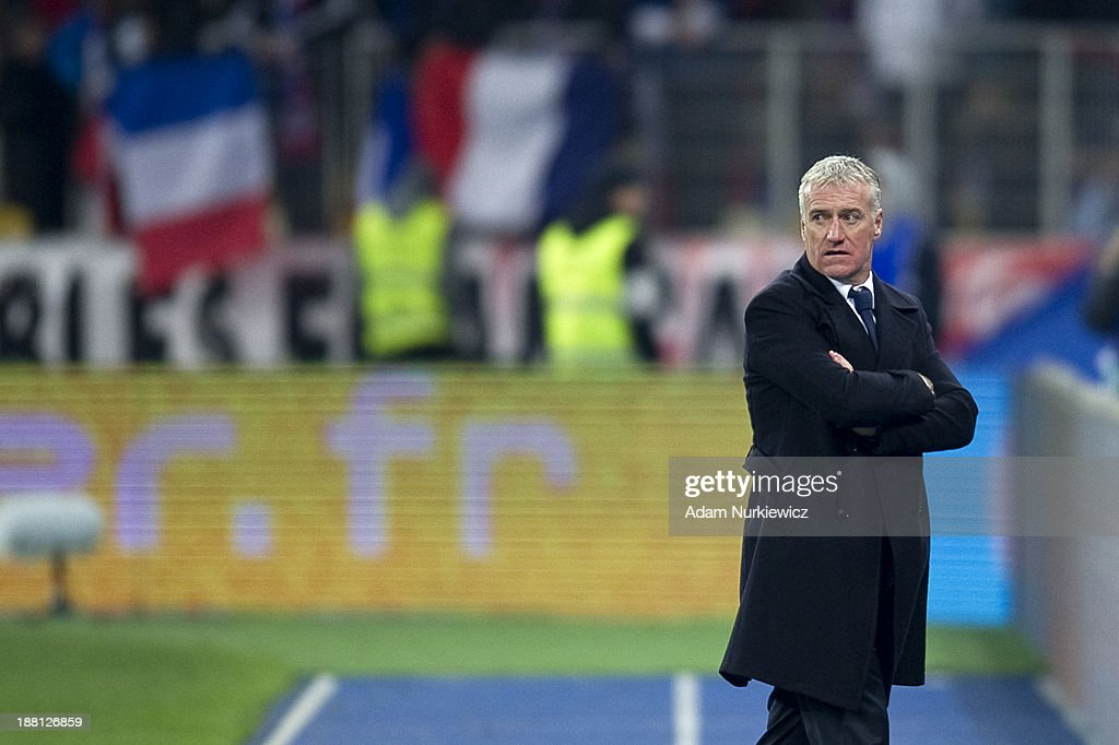 France coach <a gi-track='captionPersonalityLinkClicked' href=/galleries/search?phrase=Didier+Deschamps&family=editorial&specificpeople=213607 ng-click='$event.stopPropagation()'>Didier Deschamps</a> looks on during the FIFA 2014 World Cup Qualifier Play-off First Leg soccer match between Ukraine and France at the Olympic Stadium on November 15, 2013 in Kiev, Ukraine.