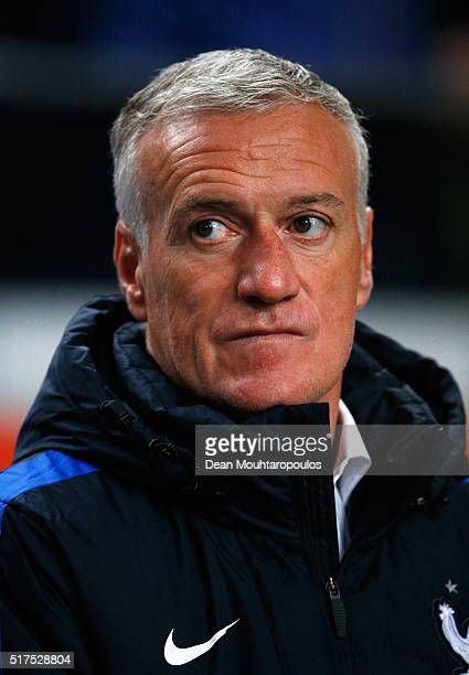 France Coach Didier Deschamps looks on during the International Friendly match between Netherlands and France at Amsterdam Arena on March 25 2016 in...