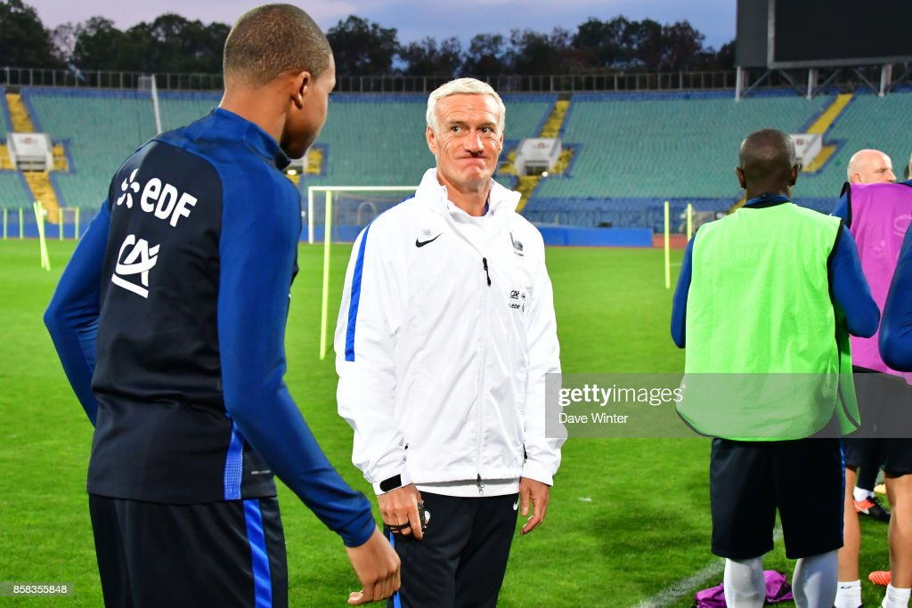 France coach Didier Deschamps (centre) makes a point to Kylian Mbappe of France (left) during the training session of the France football team ahead the World Cup qualifying match against Bulgaria on October 6, 2017 in Sofia, Bulgaria.