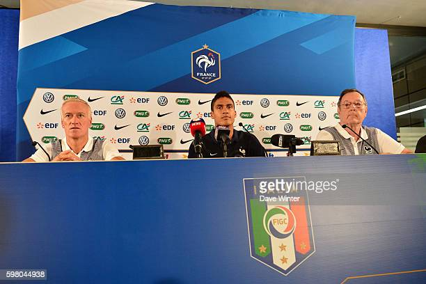 France coach Didier Deschamps Raphael Varane of France and Press attache Philippe Tournon during the press conference before the friendly match...