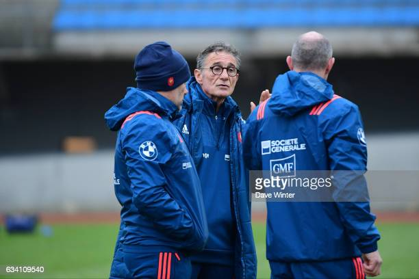 France coach Guy Noves France forwards coach Yannick Bru and France defence coach Gerald Bastide during the training session of the France rugby team...