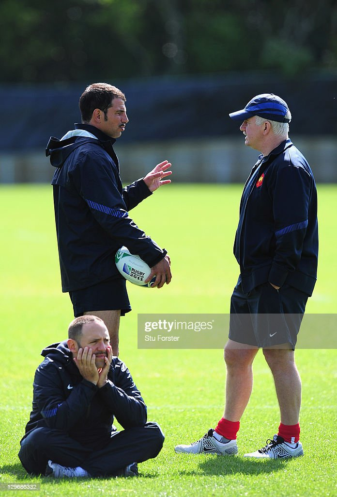 France coach Marc Lievremont (l) talks with assistant Dave Ellis (r) during a France IRB Rugby World Cup 2011 training session at Onewa Domain on October 20, 2011 in Takapuna, New Zealand.