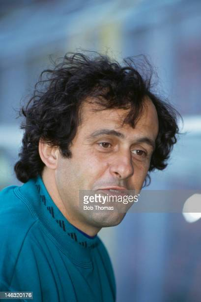 France coach Michel Platini held during the UEFA European Championships 1992 Group 1 match between Sweden and France held at the Rasunda Stadium on...