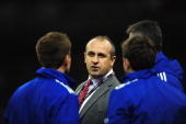 France coach Philippe SaintAndre looks on before the RBS Six Nations match between Wales and France at Millennium Stadium on February 21 2014 in...