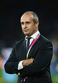 France coach Philippe SaintAndre watches the action during the 2015 Rugby World Cup Pool D match between France and Italy at Twickenham Stadium on...