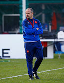 France coach Phillipe SaintAndre looks on during training at Hensol Castle on October 8 2015 in Cardiff Wales