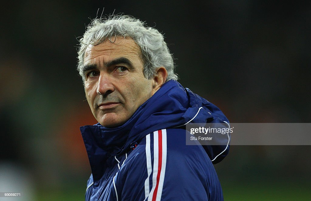 France coach <a gi-track='captionPersonalityLinkClicked' href=/galleries/search?phrase=Raymond+Domenech&family=editorial&specificpeople=497446 ng-click='$event.stopPropagation()'>Raymond Domenech</a> looks on before the FIFA 2010 World Cup Qualifier play off first leg between Republic of Ireland and France at Croke Park on November 14, 2009 in Dublin, Ireland.