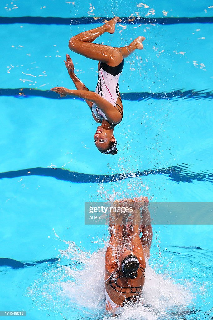 France compete during the Synchronized Swimming Free Combination Final on day eight of the 15th FINA World Championships at Palau Sant Jordi on July...