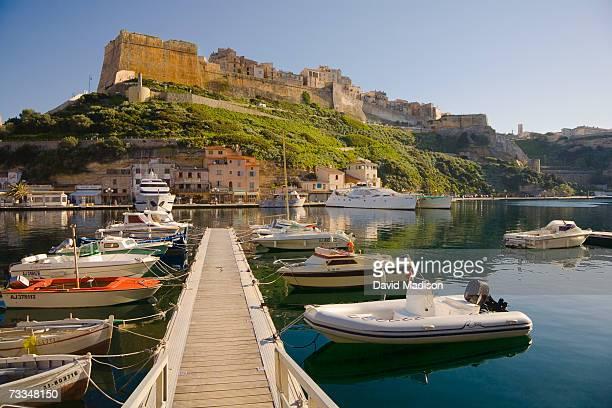 France, Corsica, Bonifacio marina with citadel in distance