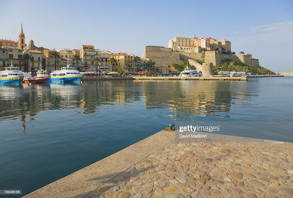France, Corsica, Calvi, marina, Quai Landri in distance : Stock Photo
