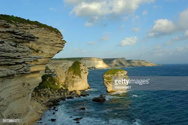France, Corsica, Corse-du-Sud, Bonifacio, View to coast with chalkstone