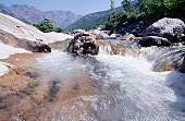 France, Corsica, fast flowing river
