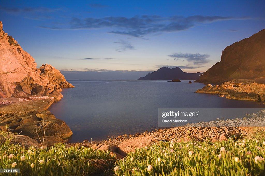 France, Corsica, Porto, the Gulf of Porto (Golfe de Porto), dusk : Stock Photo
