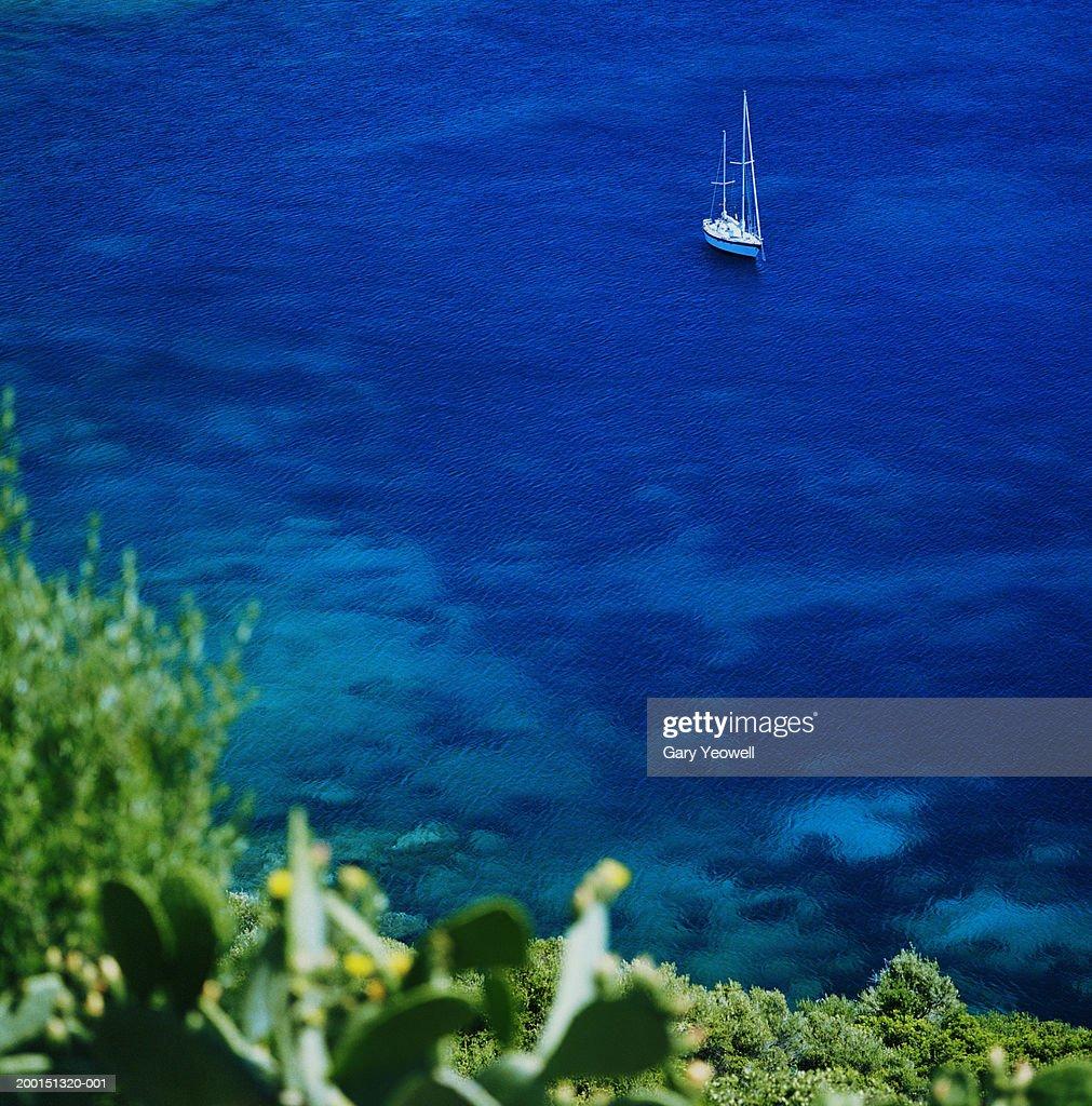 France, Corsica, sailing boat moored in Gulfe de Ajaccio : Stock Photo