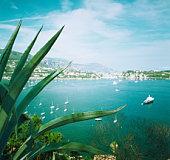 France, Cote d'Azur, Villefranche-sur-Mer, boats in bay