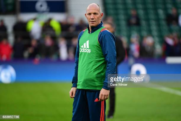 France defence coach Gerald Bastide during the RBS Six Nations match between England and France at Twickenham Stadium on February 4 2017 in London...