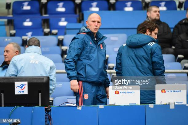France defence coach Gerald Bastide during the RBS Six Nations match between France and Scotland at Stade de France on February 12 2017 in Paris...