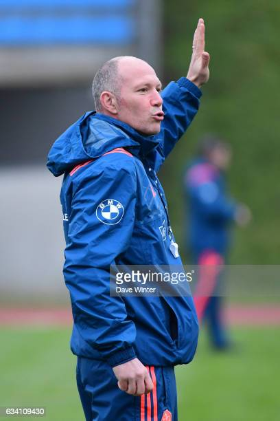 France defence coach Gerald Bastide during the training session of the France rugby team at Centre National de Rugby on February 7 2017 in Marcoussis...