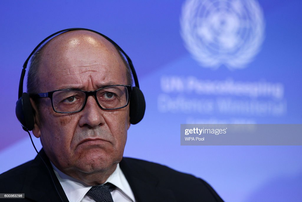France Defence Minister Jean-Yvres Le Drian listens to comments during 'Improving Peacekeeping - Rapid Deployment' during the UN Peacekeeping Defence Ministerial at Lancaster House on September 8, 2016 in London, England.