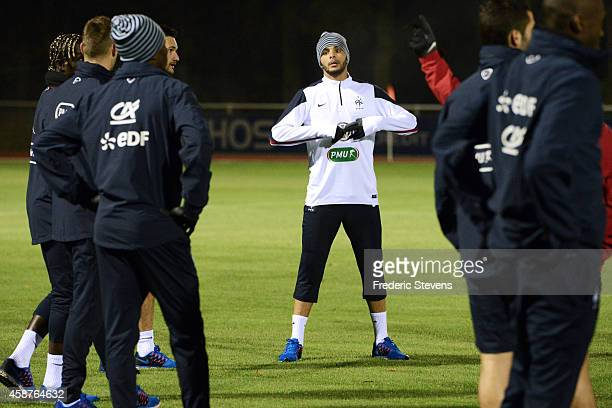 France defender Layvin Kurzawa during a training session at the French national football team centre in ClairefontaineenYvelines on November 10 2014...