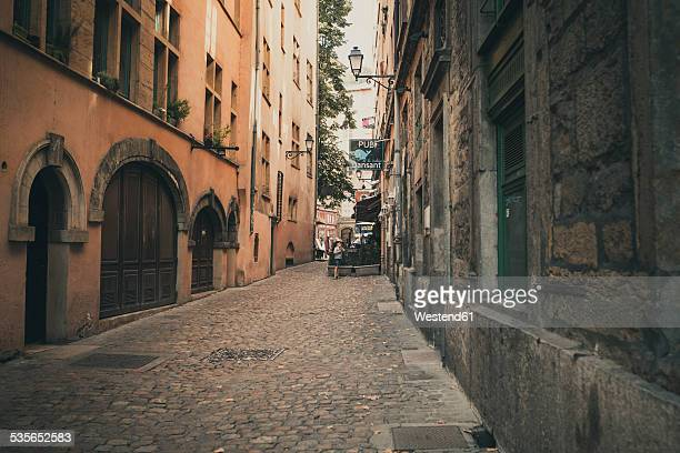 France, Department Rhone, Lyon, Alleyway and old houses