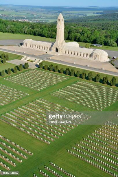 France, Eastern France, Lorraine, Meuse, Douaumont, Douaumont ossuary, military cemetery of WWI, aerial view