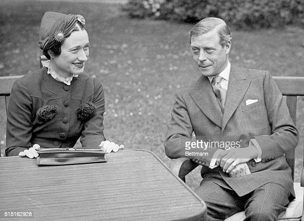Edward VIII Duke of Windsor sits with his wife Wallis Simpson at the Chateau de Cands in France Photo shows a closeup view of the couple