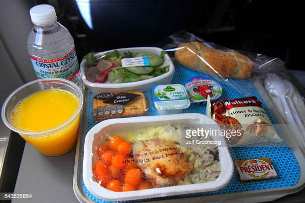 France Europe French Paris CDG Charles de Gaulle Airport American Airlines Miami flight economy seat inflight meal orange juice