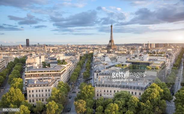 France, Europe, Paris Cityscape Panorama With Eiffel Tower