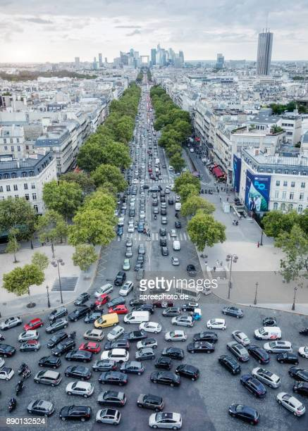 France, Europe, Paris Cityscape Panorama With Traffic