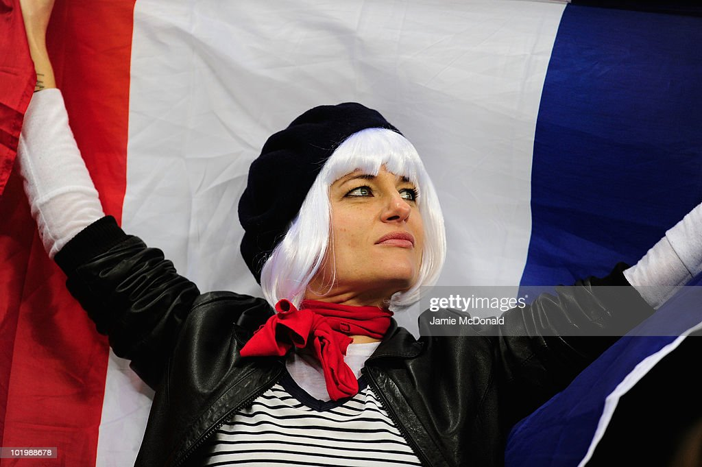 France fan attends the 2010 FIFA World Cup South Africa Group A match between Uruguay and France at Green Point Stadium on June 11 2010 in Cape Town...