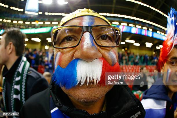 France fan looks on during the 2015 Rugby World Cup Pool D match between France and Ireland at Millennium Stadium on October 11 2015 in Cardiff...