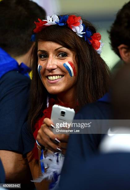 France fan poses during the 2014 FIFA World Cup Brazil Group E match between Switzerland and France at Arena Fonte Nova on June 20 2014 in Salvador...