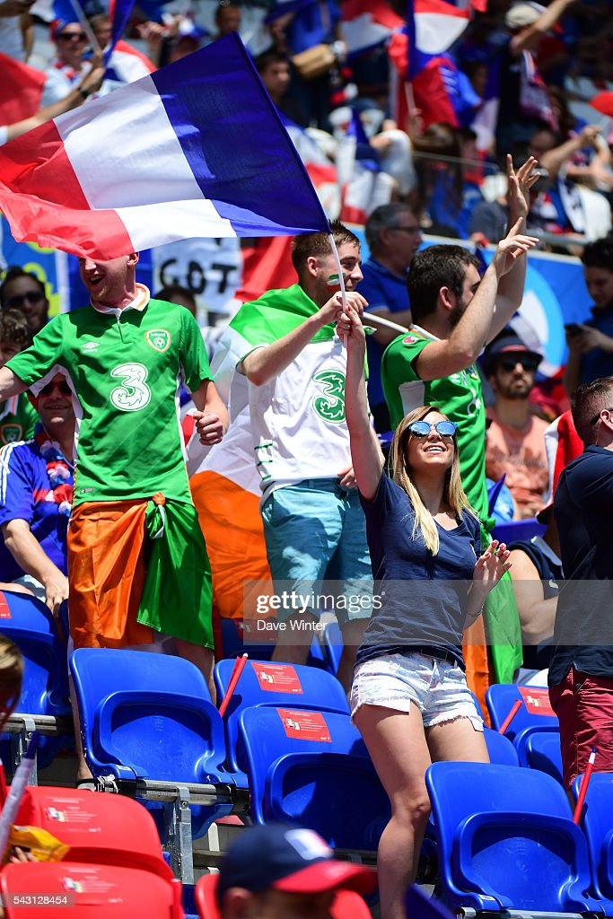 France fans and Ireland fans during the European Championship match Round of 16 between France and Republic of Ireland at Stade des Lumieres on June 26, 2016 in Lyon, France.