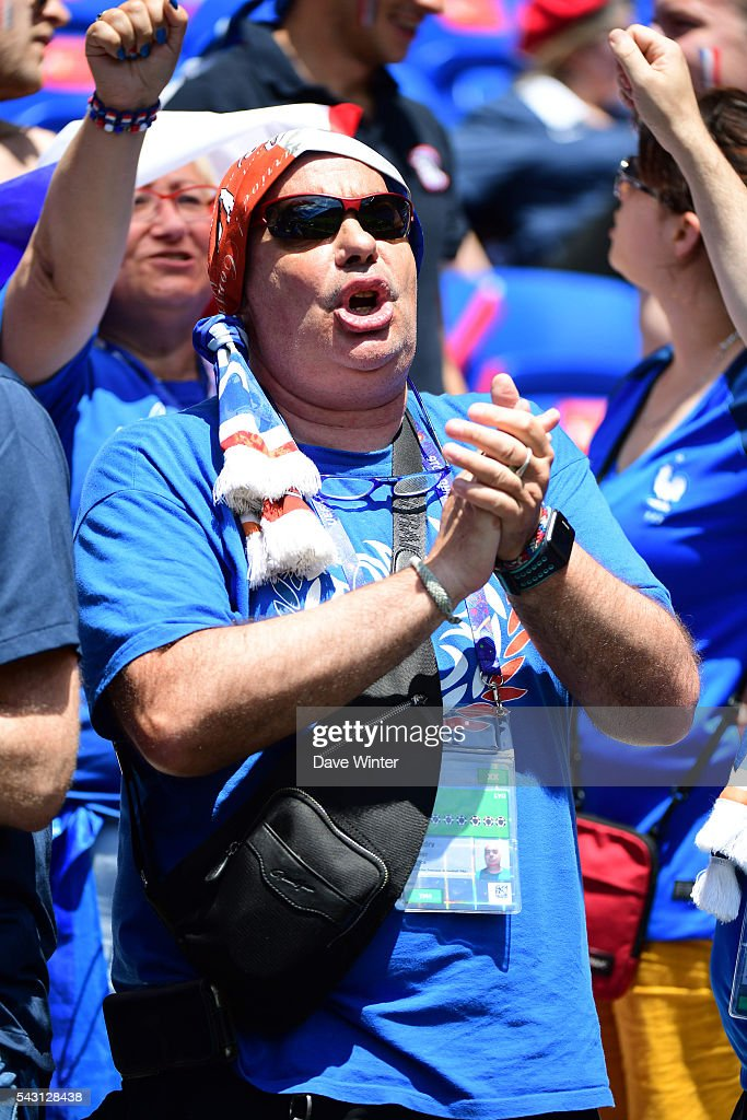 France fans during the European Championship match Round of 16 between France and Republic of Ireland at Stade des Lumieres on June 26, 2016 in Lyon, France.