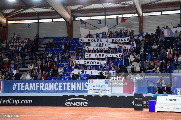 France fans during the Fed Cup match between France and Spain on April 22 2017 in Roanne France