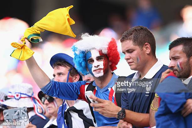 France fans enjoy the atmosphere prior to the 2014 FIFA World Cup Brazil Group E match between Switzerland and France at Arena Fonte Nova on June 20...