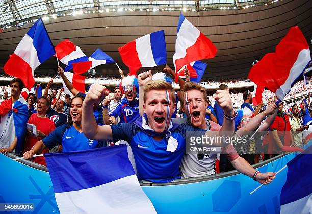 France fans show their support prior to the UEFA EURO 2016 Final match between Portugal and France at Stade de France on July 10 2016 in Paris France