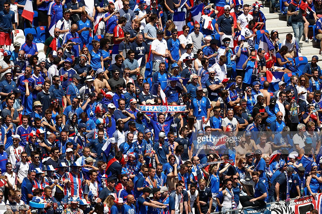 France fans show their support prior to the UEFA EURO 2016 round of 16 match between France and Republic of Ireland at Stade des Lumieres on June 26, 2016 in Lyon, France.