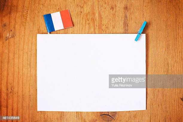 France flag with white letterhead