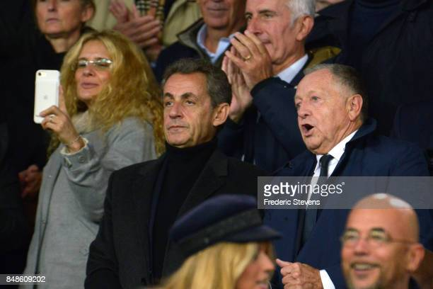 France former president Nicolas Sarkozy and the president of Olympique Lyonnais Football Club Jean Michel Aulas during the Ligue 1 match between...