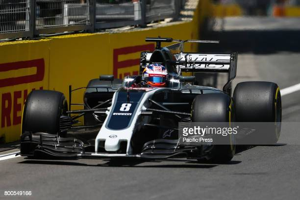 France Formula One driver Romain Grosjean of Haas F1 Team in action during the first practice session of the Formula One Grand Prix of Azerbaijan at...