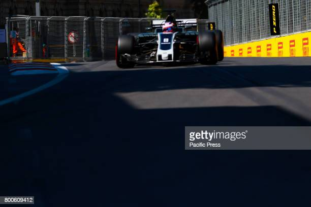 France Formula One driver Romain Grosjean of Haas F1 Team in action during the third practice session of the Formula One Grand Prix of Azerbaijan at...
