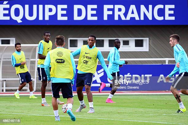 France forward Anthony Martial during a training session at the French national football team centre in ClairefontaineenYvelines on August 31 2015 in...