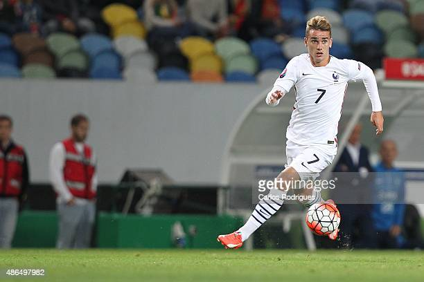 France forward Antoine Griezmann in action during the Friendly match between Portugal and France on September 04 2015 in Lisbon Portugal