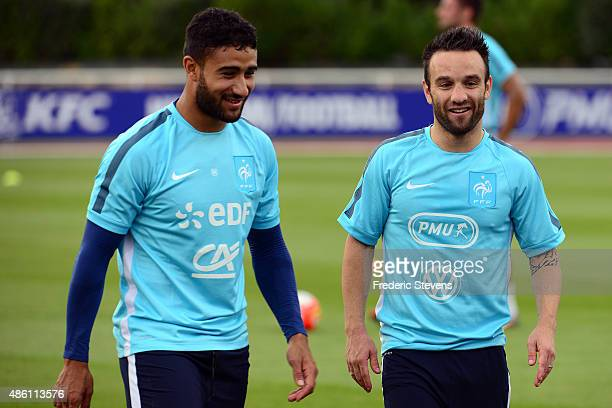 France forward Nabil Fekir and midfielder Mathieu Valbuena during a training session at the French national football team centre in...