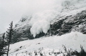 France French Alps Trois Vallées Avalanche of snow crashing down steep mountainside