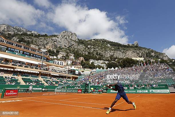TOPSHOT France Gael Monfils hits a return to Gilles Muller of Luxembourg during their MonteCarlo ATP Masters Series tournament tennis match on April...